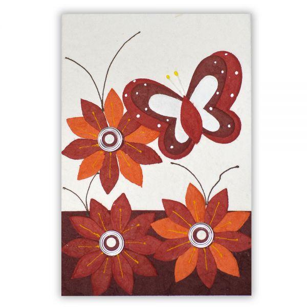 SAA Grußkarte | 3 rote Blüten mit rotem Schmetterling