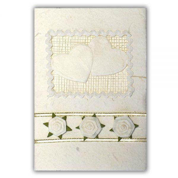 SAA Grußkarte | 2 einfache Herzen auf Netz und 3 Blüten