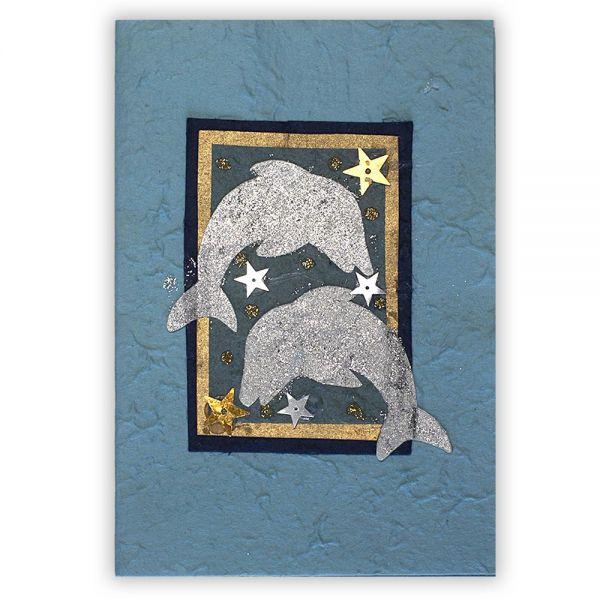 SAA Grußkarte | Sternenwelt mit goldenem und silbernem Delphin