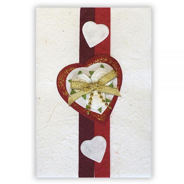 SAA Grußkarte | rotes Herz mit Goldschleife
