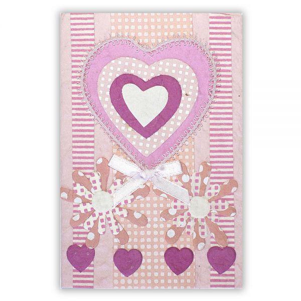 SAA Grußkarte | rotes Herz mit 4 kleinen Herzen