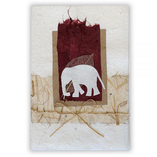 SAA Grußkarte | Elefant, rot