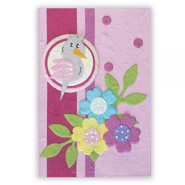 SAA Baby Grußkarte | rosa Vogel mit Blumen
