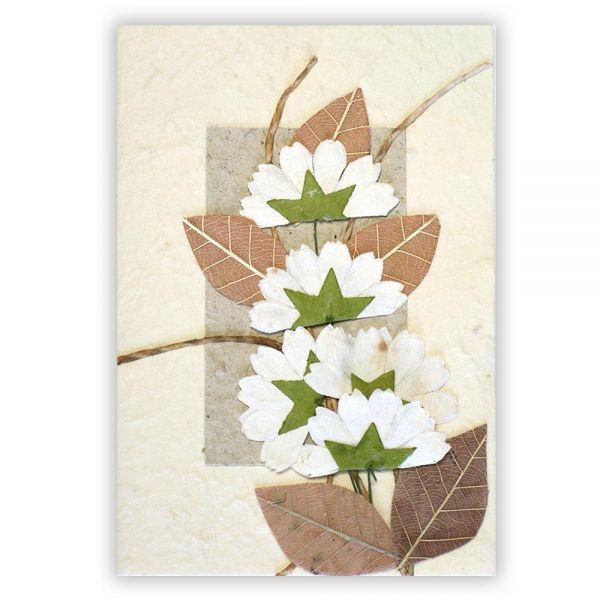 SAA Grußkarte | 5 Blüten, braune Blätter mit Ornamentschleife
