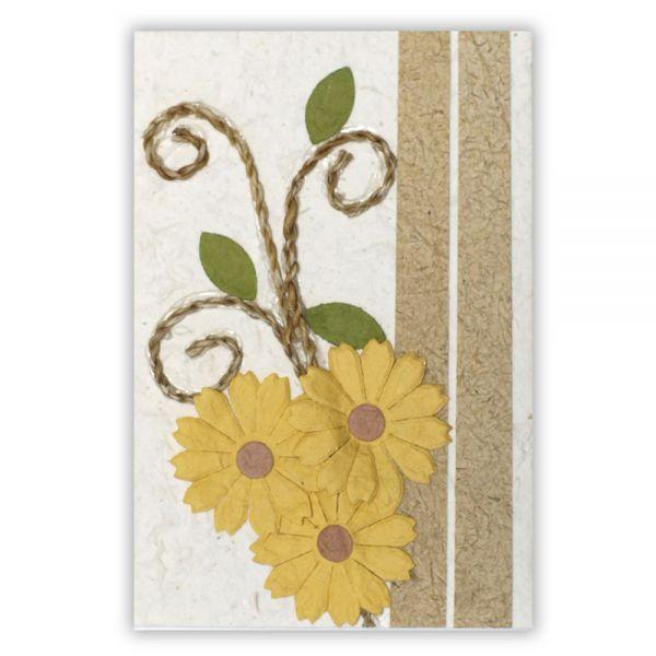 SAA Grußkarte | 3 gelbe Blüten und Kordel-Ornament