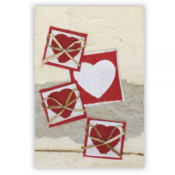 SAA Grußkarte | rote Herzen, natur