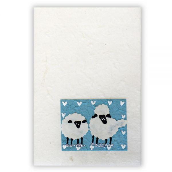 SAA Grußkarte | 2 Schafe auf blauem Grund