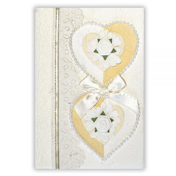 SAA Grußkarte | 2 weiss-beige Herzen mit goldener Borte