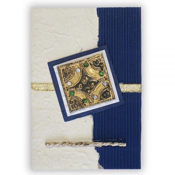 SAA Grußkarte | mit Glassteinen, dunkelblau