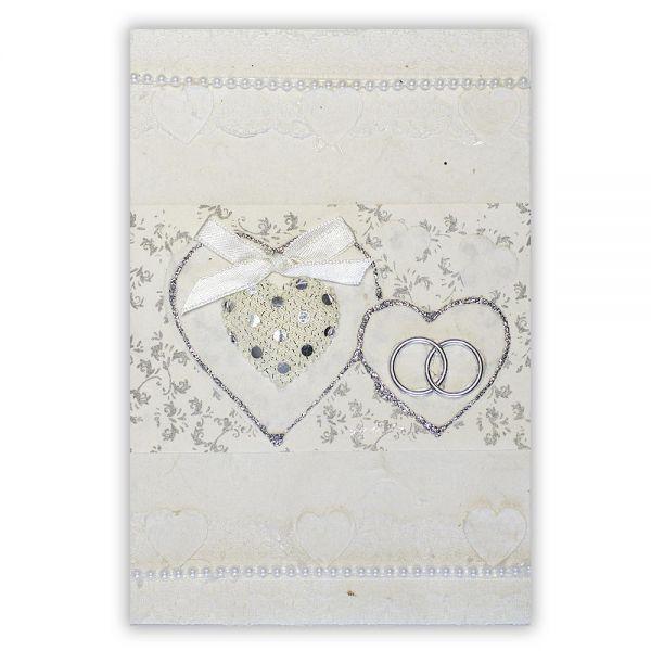 SAA Grußkarte | großes und kleines Herz mit Silberborde