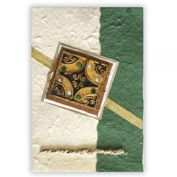 SAA Grußkarte | mit Glassteinen, grün
