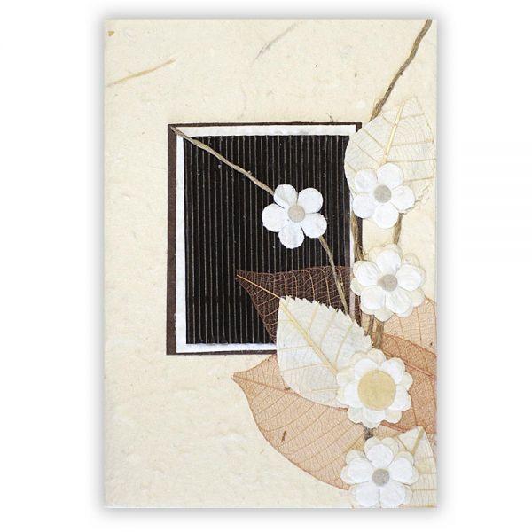SAA Grußkarte | 5 Blüten mit braunem Skelett Blatt
