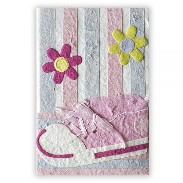 SAA Baby Grußkarte | rosa Schuh