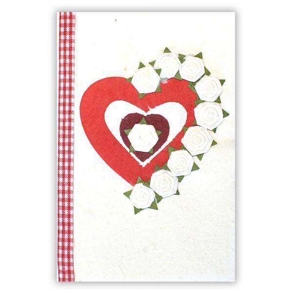 SAA Grußkarte | rotes Herz mit weisse Blüten