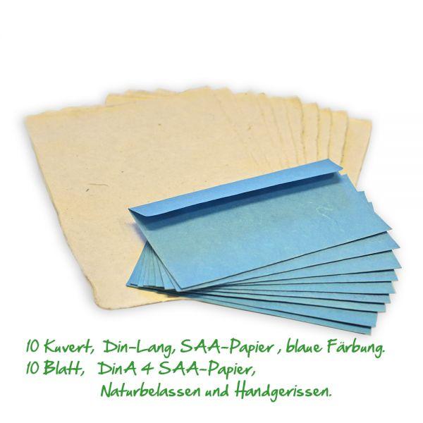 Naturpapier SAA mit blauen Kuvert.