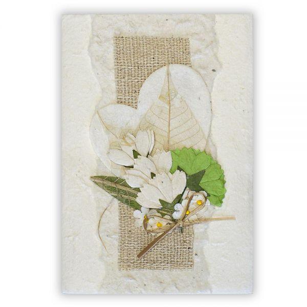 SAA Grußkarte | weisses Herz mit Grasblüte, natur