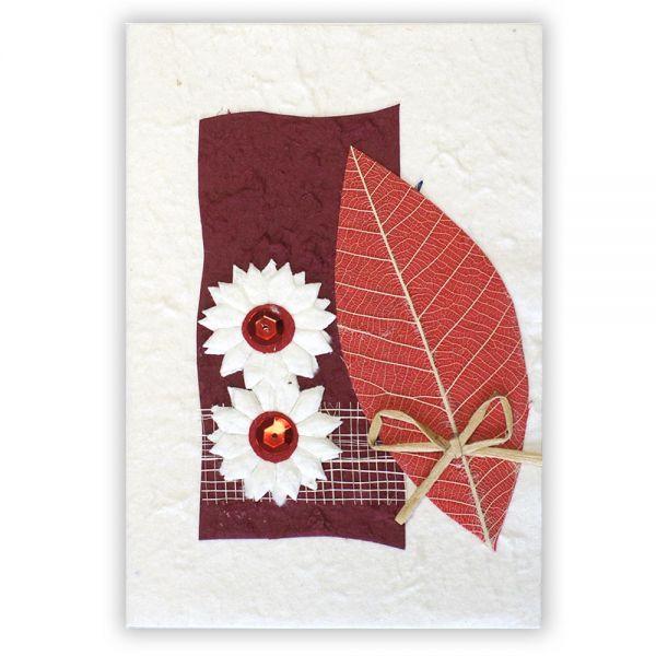 SAA Grußkarte | Naturblatt in Rot mit Schleife