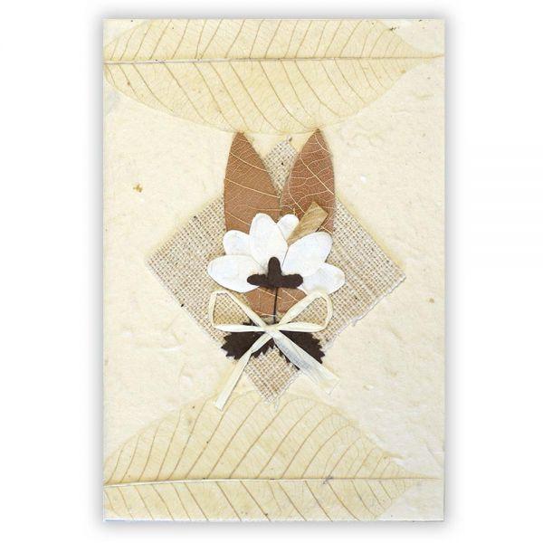 SAA Grußkarte | 2 braune Grasblätter mit Textilraute
