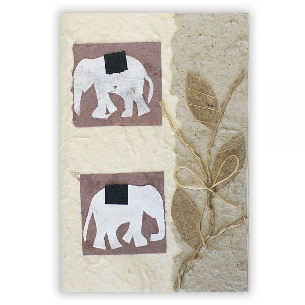 SAA Grußkarte | 2 Elefanten, natur