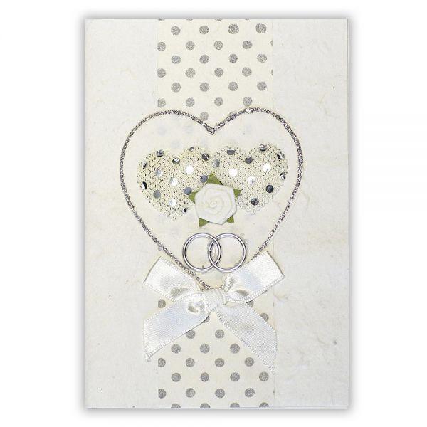 SAA Grußkarte | weisses Herz mit 2 weissen Herzen und Silberborte