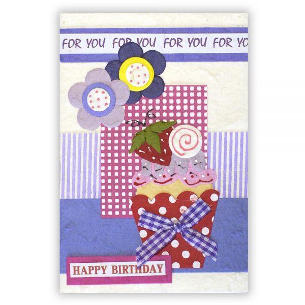 SAA Geburtstags Grußkarte | Erdbeerkuchen
