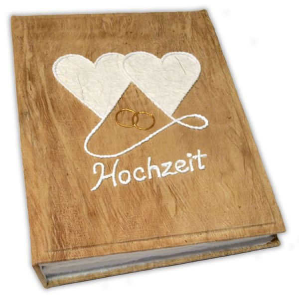 Hochzeit Fotoalbum Nr. 14, 2 Herzen mit goldenen Ringen, www.SAA-Papier.de