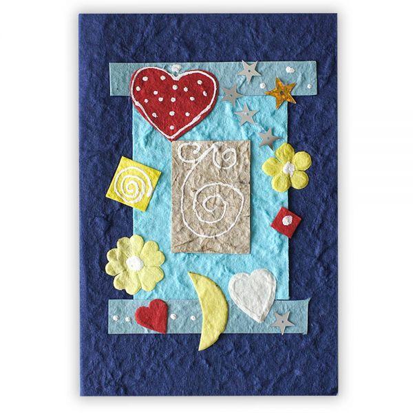 SAA Baby Grußkarte | blau mit Herzen