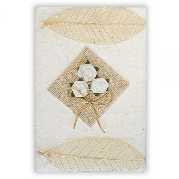 SAA Grußkarte | 3 Blüten auf Textilraute