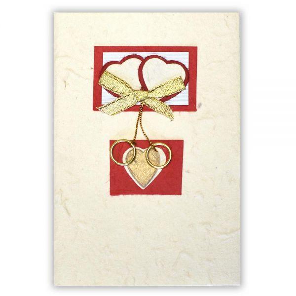 SAA Grußkarte | rote Herzen mit Herz darunter