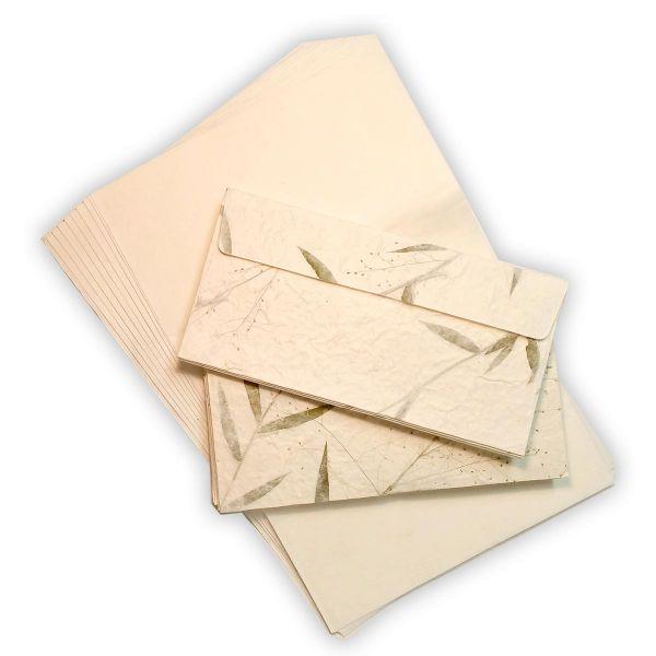 Briefpapier Set, Blütenpapier DinA-Lang (10 Blüten-Kuvert + 10 Blatt SAA-Papier)