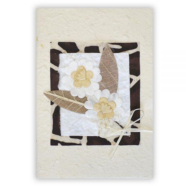 SAA Grußkarte | 2 Blüten mit 2 braunen Grasblätter, gescheckt