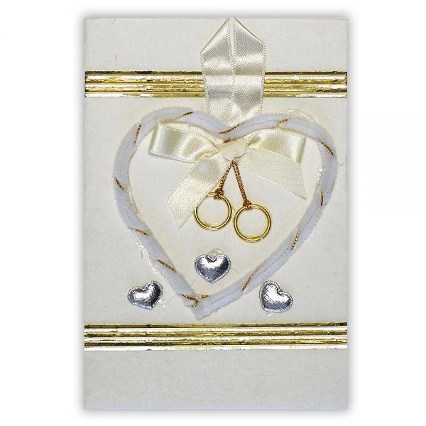 SAA Grußkarte | weisses Flausch-Herz mit Goldborde