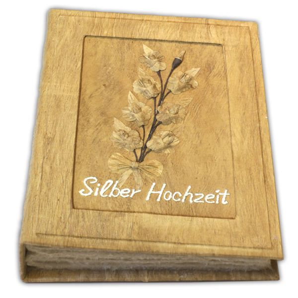 "Silber  Hochzeit Fotoalbum ""Lebensranke"" im Rahmen"