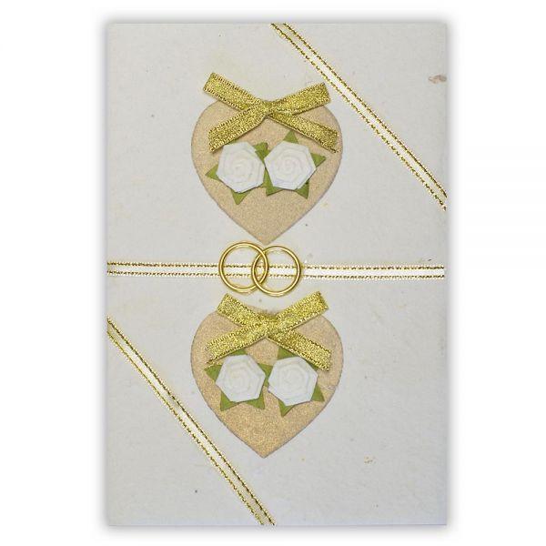 SAA Grußkarte | 2 goldene Herzen mit weissen Blüten
