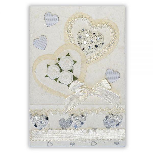 SAA Grußkarte | 2 weisse Herzen mit Schleife und Silberherzen