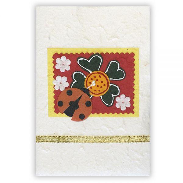 SAA Grußkarte | Glücksklee mit Herzen und Marienkäfer