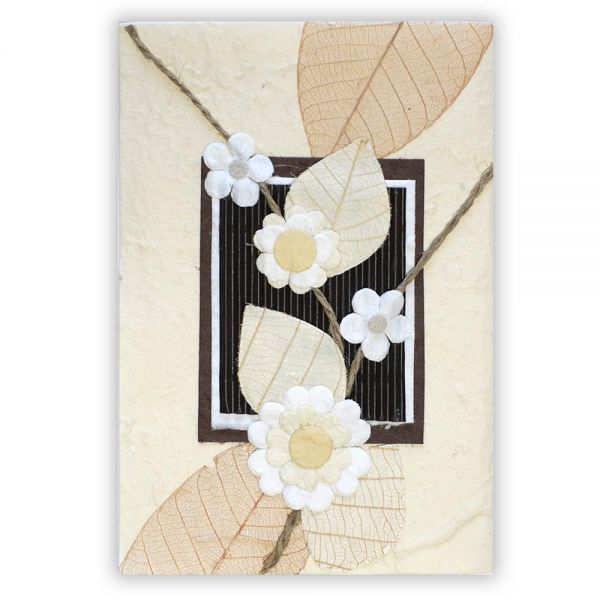 SAA Grußkarte | 4 Blüten mit braunem Skelett Blatt