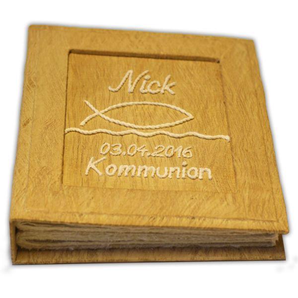 """Kommunionalbum """"Fisch und Wasser"""" mit Namen und Datum"""