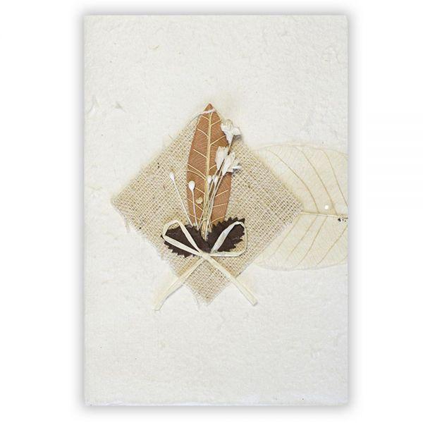 SAA Grußkarte | braunes Grasblatt mit Textilraute