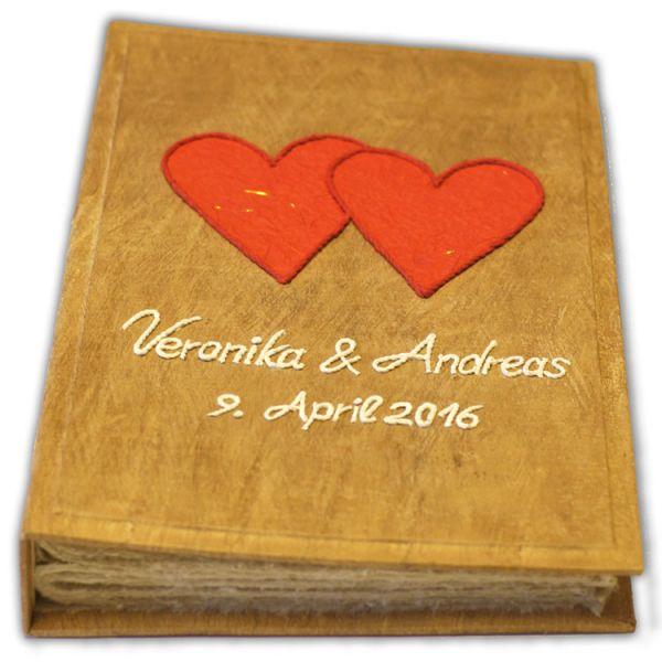 Hochzeits Fotoalbum Nr. 23 ~ rote Herzen, weisse Schrift