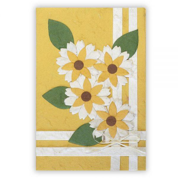 SAA Grußkarte | 4 gelbe Blüten auf beigen Grund