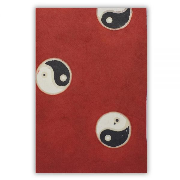 SAA Grußkarte   Yin-Yang auf rotem Grund-Copy