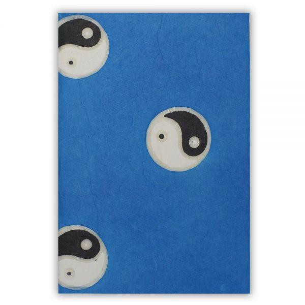 SAA Grußkarte | Yin-Yang auf blauem Grund