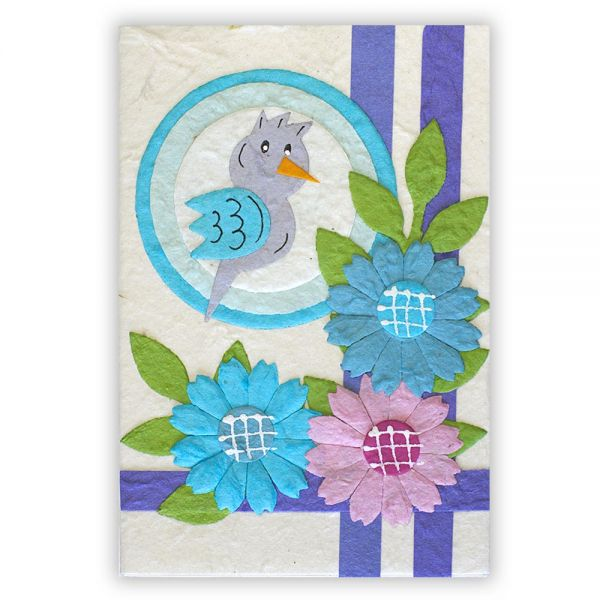 SAA Baby Grußkarte | blauer Vogel im Ring