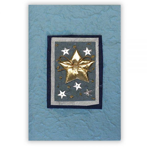 SAA Grußkarte | Sternenwelt mit goldenem Stern