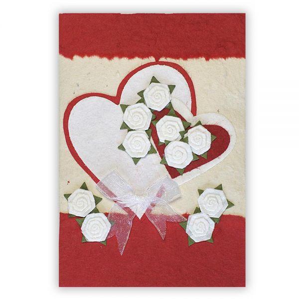 SAA Grußkarte | großes rotes Herz - kleines rotes Herz