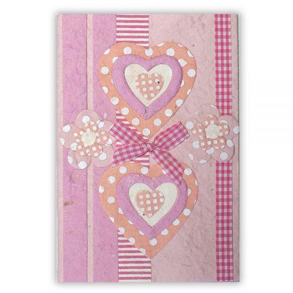 SAA Grußkarte | pinkfarbene Herzen auf pinkem Grund