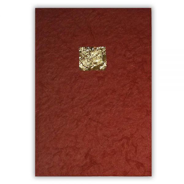Kondolenzkarte, dunkelrot mit echtem Blattgold