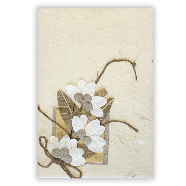 SAA Grußkarte | 3 Blüten natur mit Ornamentschleife