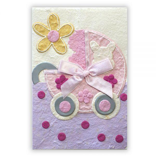 SAA Baby Grußkarte   rosa Kinderwagen